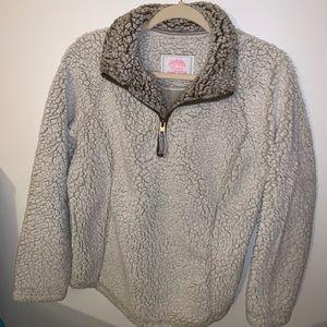 Cream & Gray Cozy Sherpa Half Zip